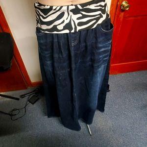 Blue Jean Maxi Skirt w/zebra fols down waist